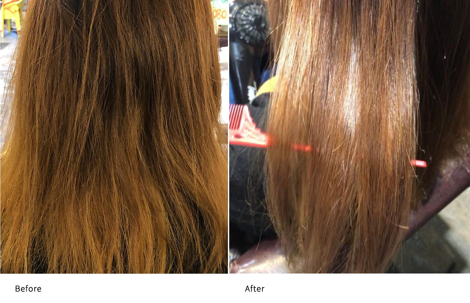 髪質改善ココナッツ矯正施術前と施術後